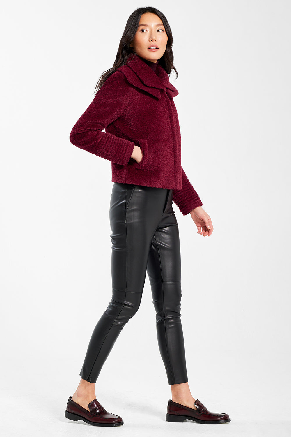 Sentaler Bouclé Alpaca Moto Jacket with Signature Double Collar featured in Bouclé Alpaca and available in Garnet Red. Seen from side.