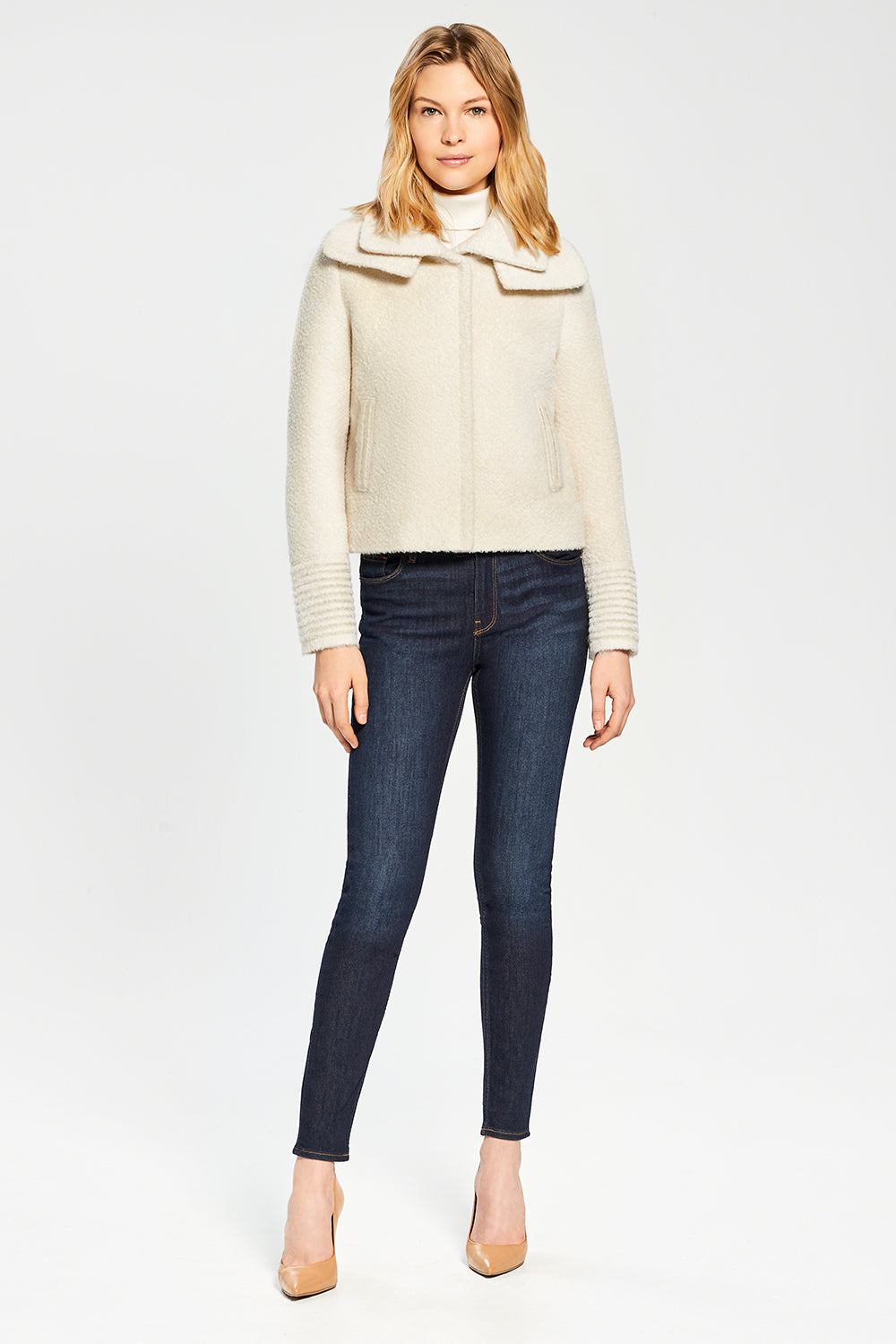Sentaler Bouclé Alpaca Moto Jacket with Signature Double Collar featured in Bouclé Alpaca and available in Ivory. Seen from front.