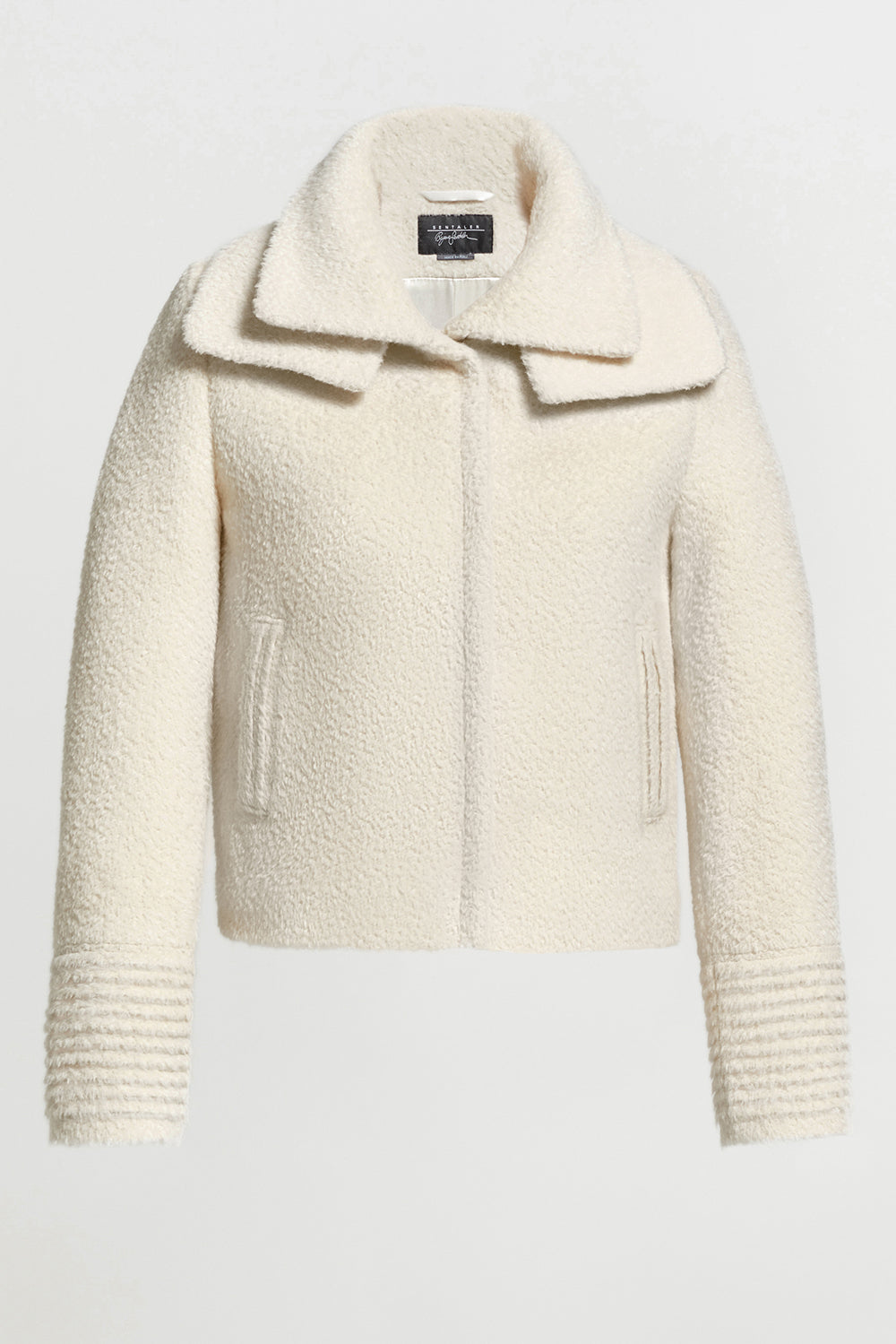 Sentaler Bouclé Alpaca Moto Jacket with Signature Double Collar featured in Bouclé Alpaca and available in Ivory. Seen off model.