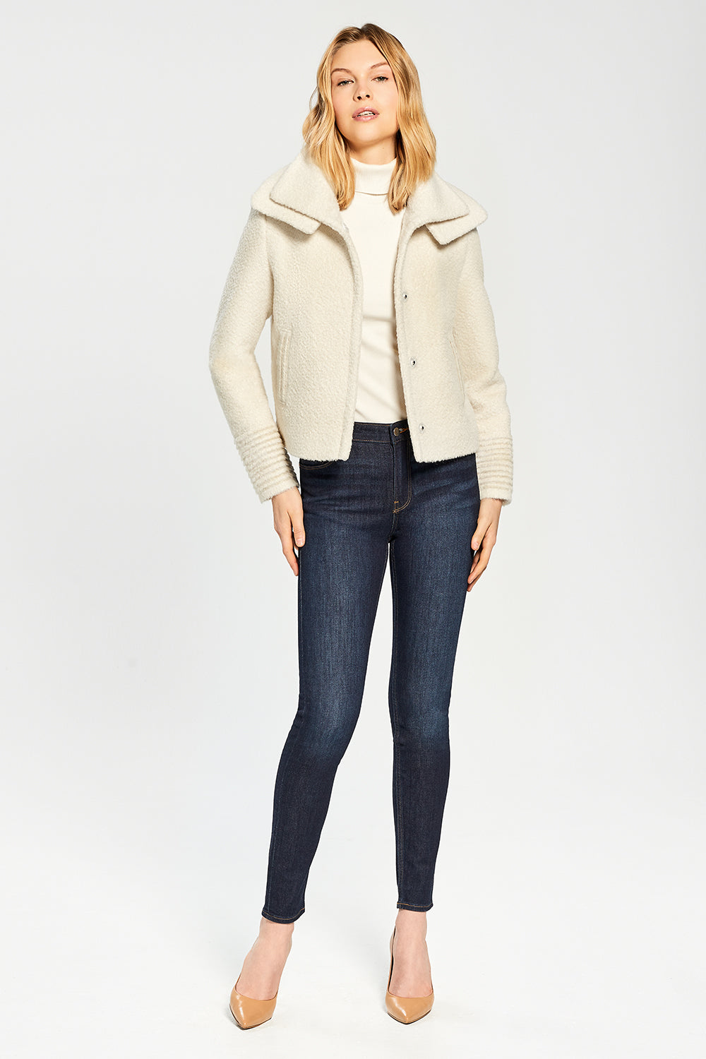 Sentaler Bouclé Alpaca Moto Jacket with Signature Double Collar featured in Bouclé Alpaca and available in Ivory. Seen open.