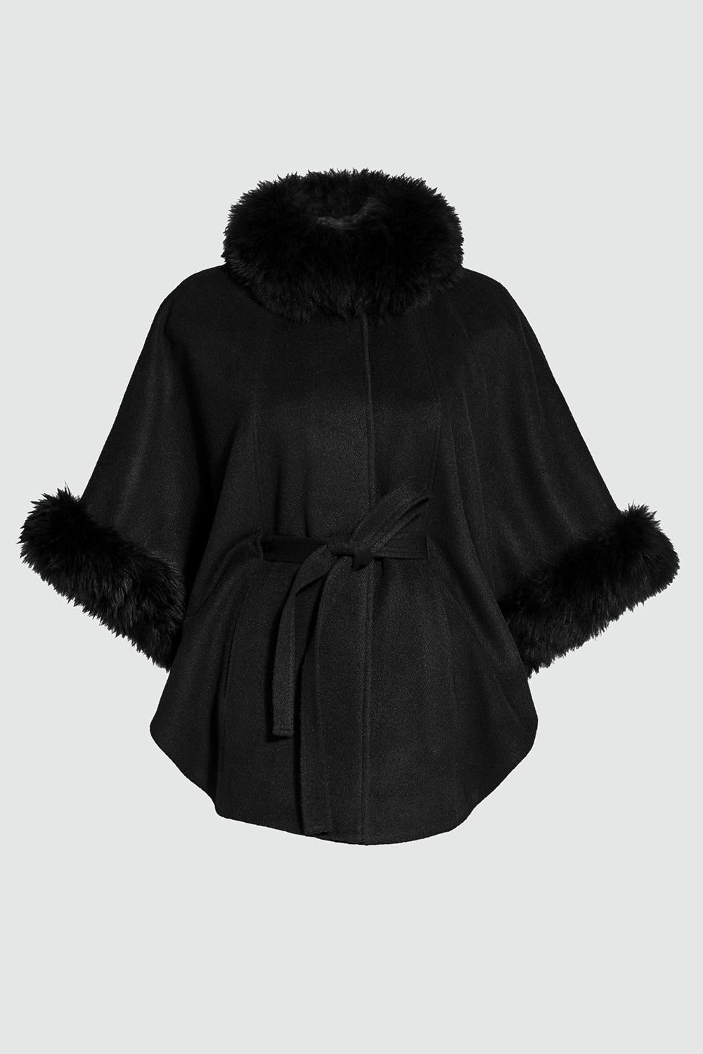 Sentaler Cape with Fur Collar and Cuffs featured in Baby Alpaca and available in Black. Seen off model.