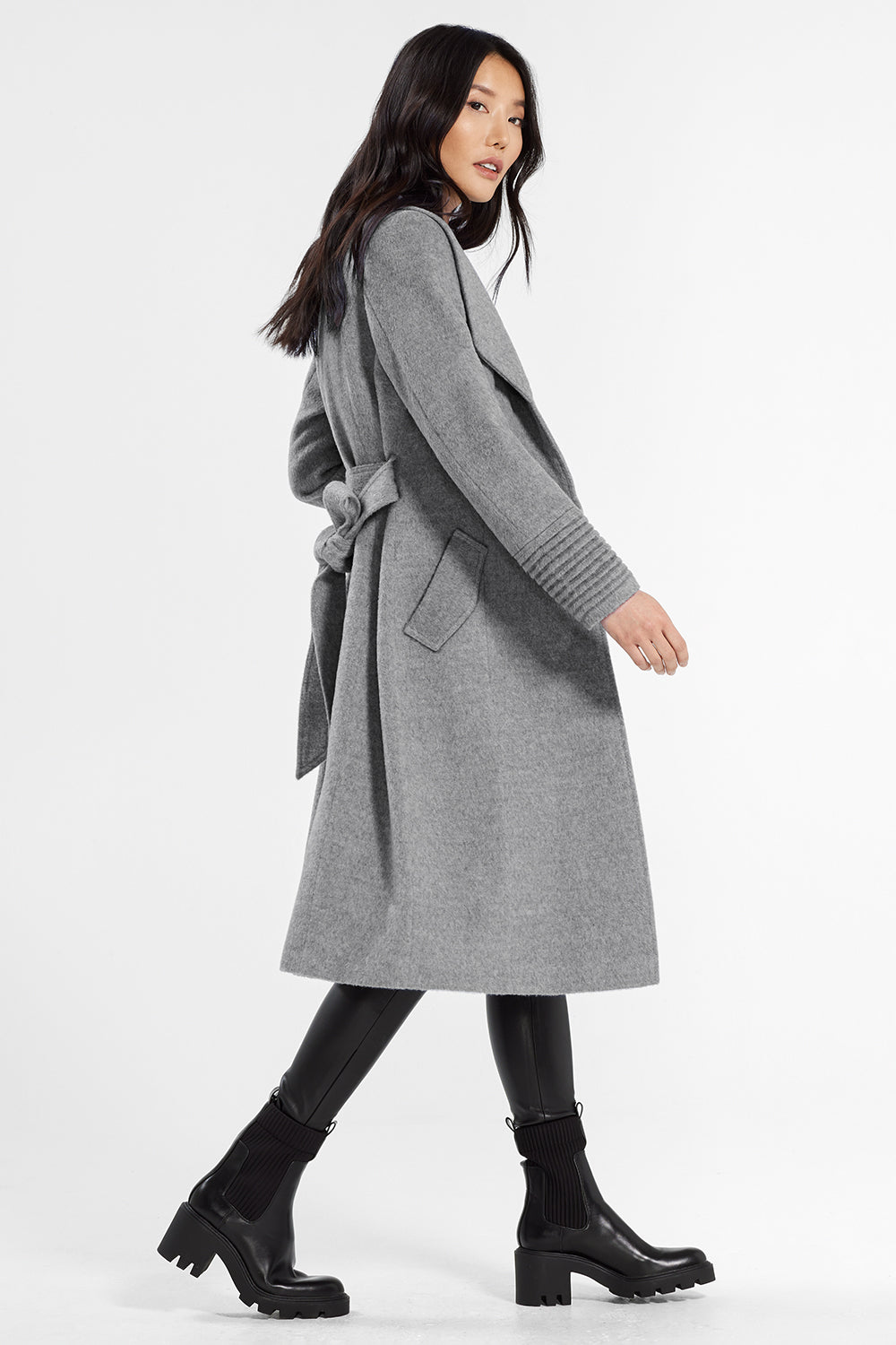 Sentaler Classic Long Coat with Shawl Collar featured in Baby Alpaca and available in Shale Grey. Seen in action.