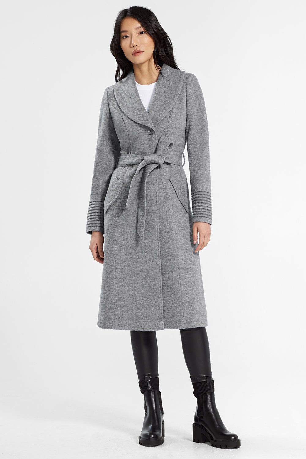 Sentaler Classic Long Coat with Shawl Collar featured in Baby Alpaca and available in Shale Grey. Seen from front.
