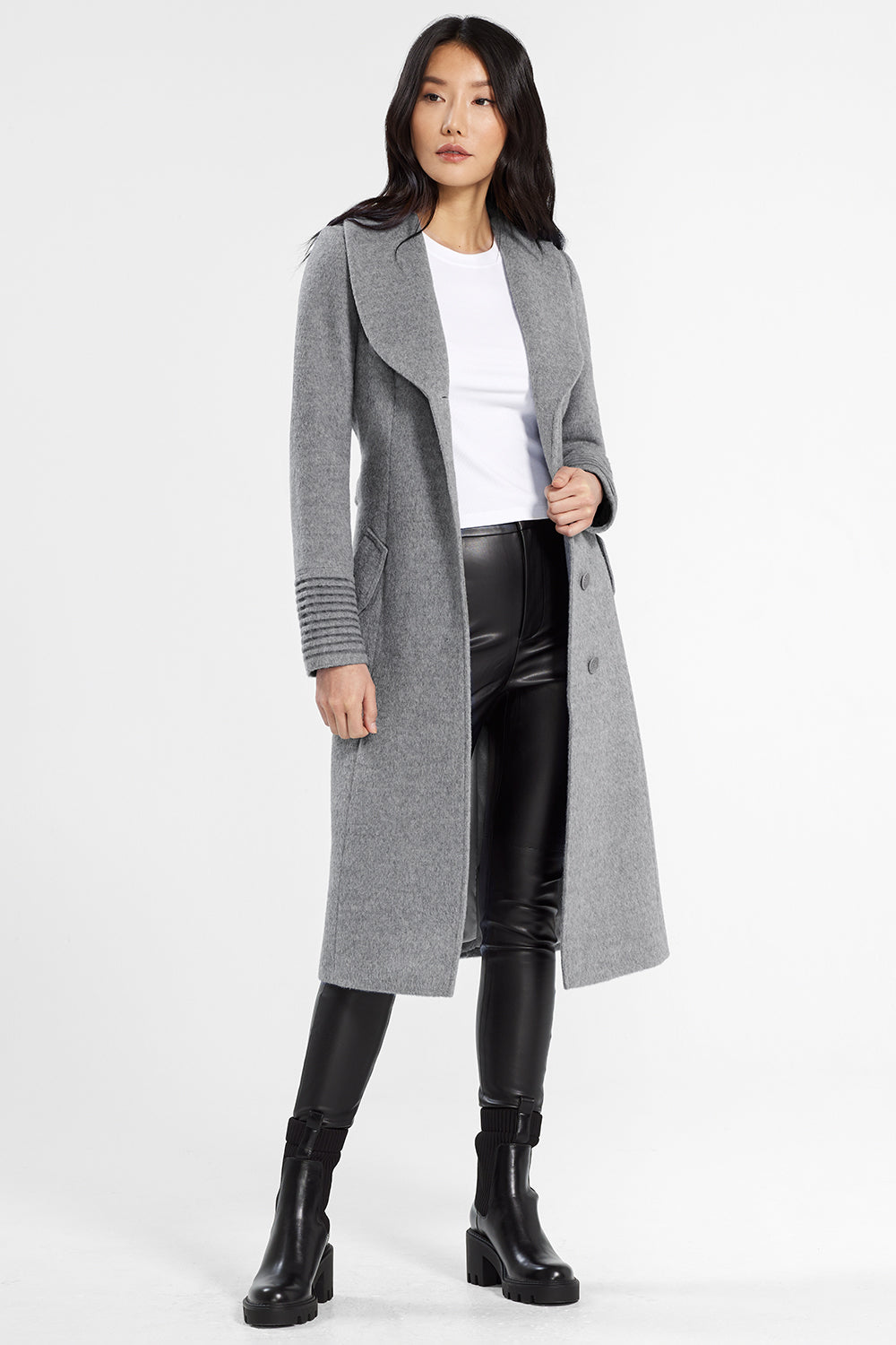 Sentaler Classic Long Coat with Shawl Collar featured in Baby Alpaca and available in Shale Grey. Seen open.