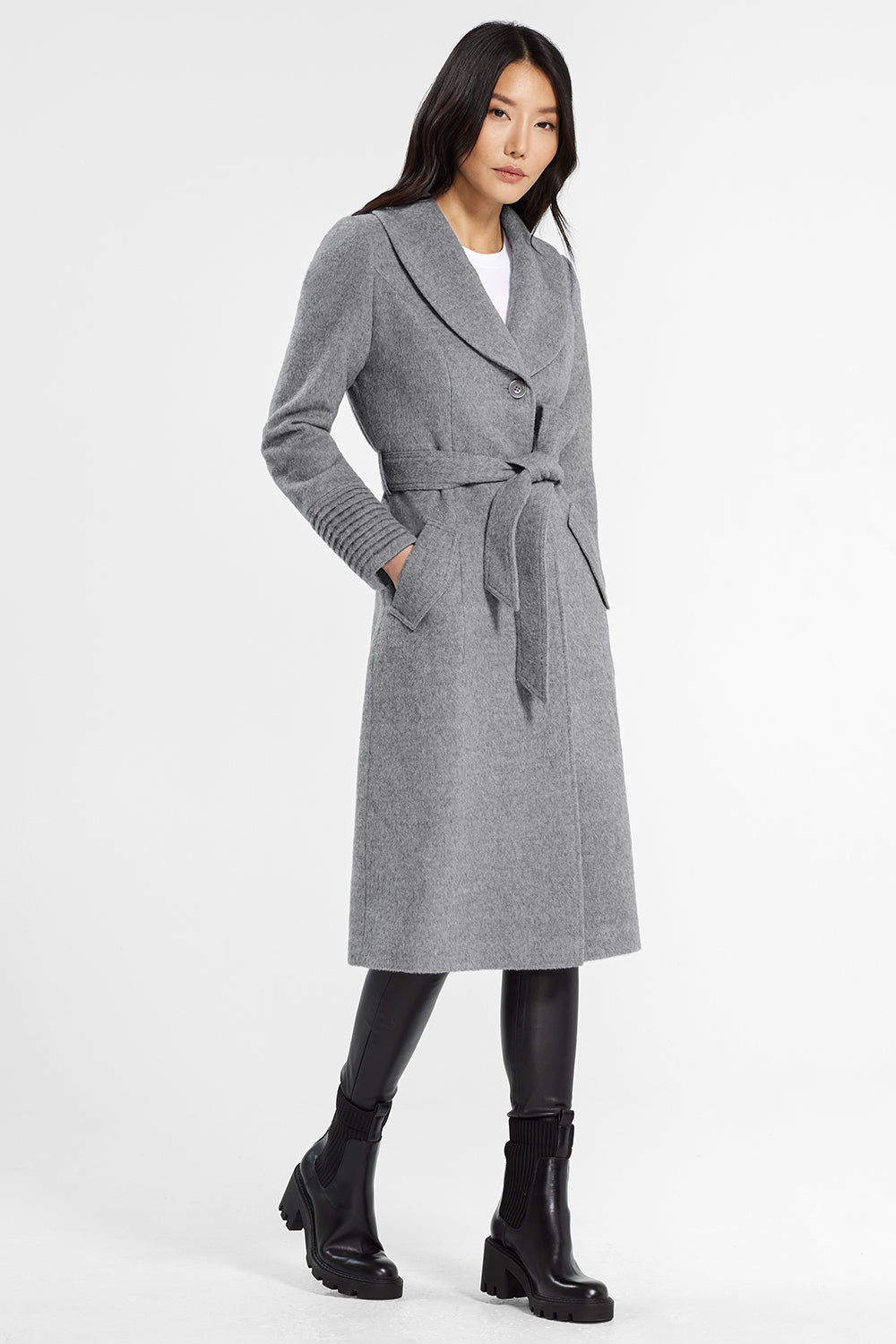 Sentaler Classic Long Coat with Shawl Collar featured in Baby Alpaca and available in Shale Grey. Seen from side.