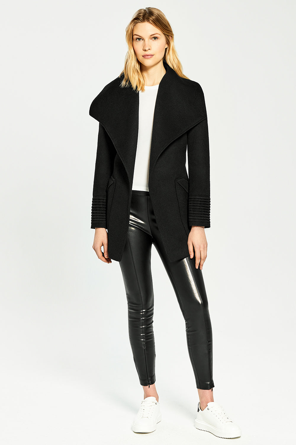 Sentaler Cropped Wide Collar Wrap Coat featured in Baby Alpaca and available in Black. Seen from front.
