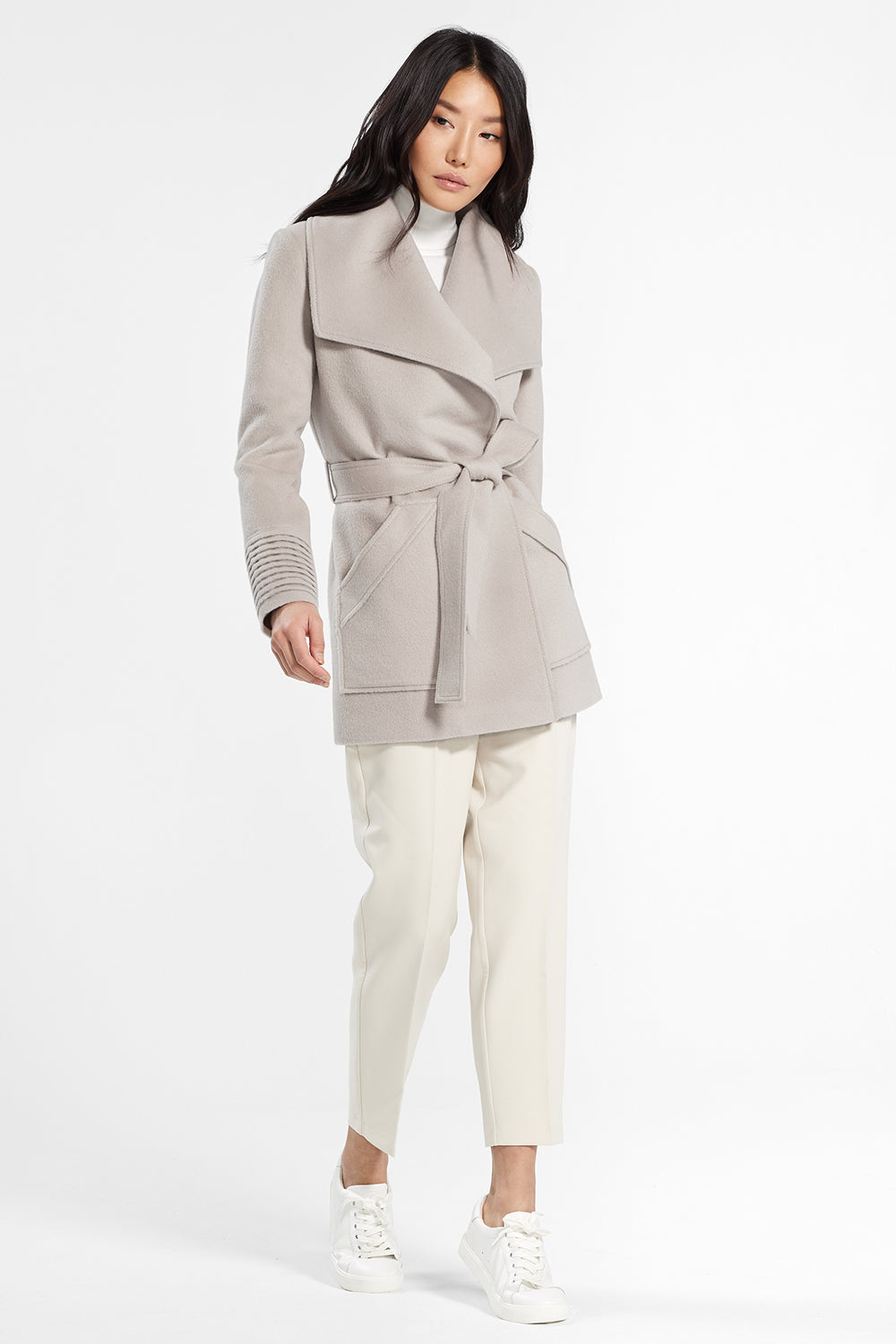 Sentaler Cropped Wide Collar Wrap Coat featured in Baby Alpaca and available in Bleeker Beige. Seen in action.