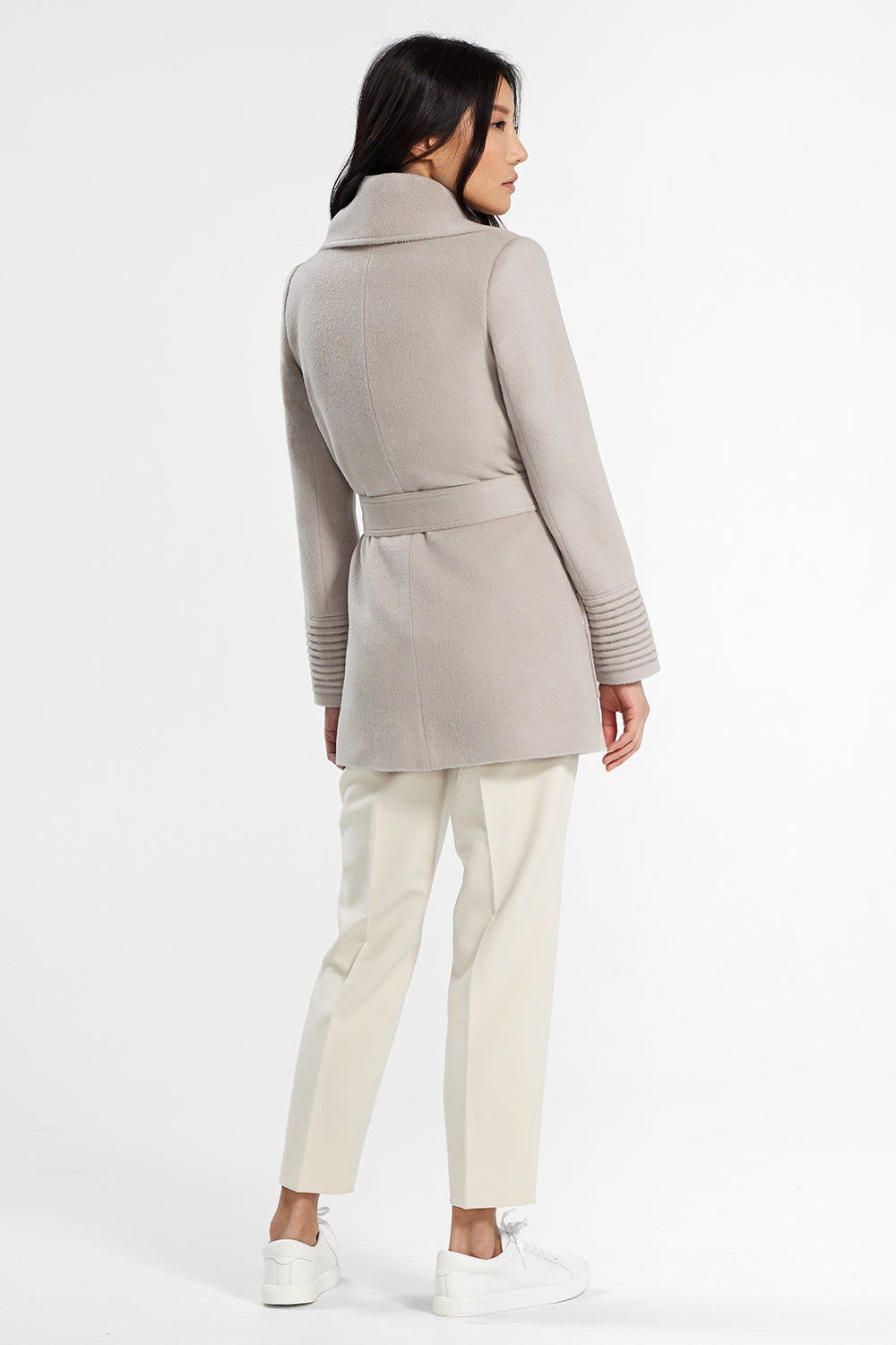 Sentaler Cropped Wide Collar Wrap Coat featured in Baby Alpaca and available in Bleeker Beige. Seen from back.