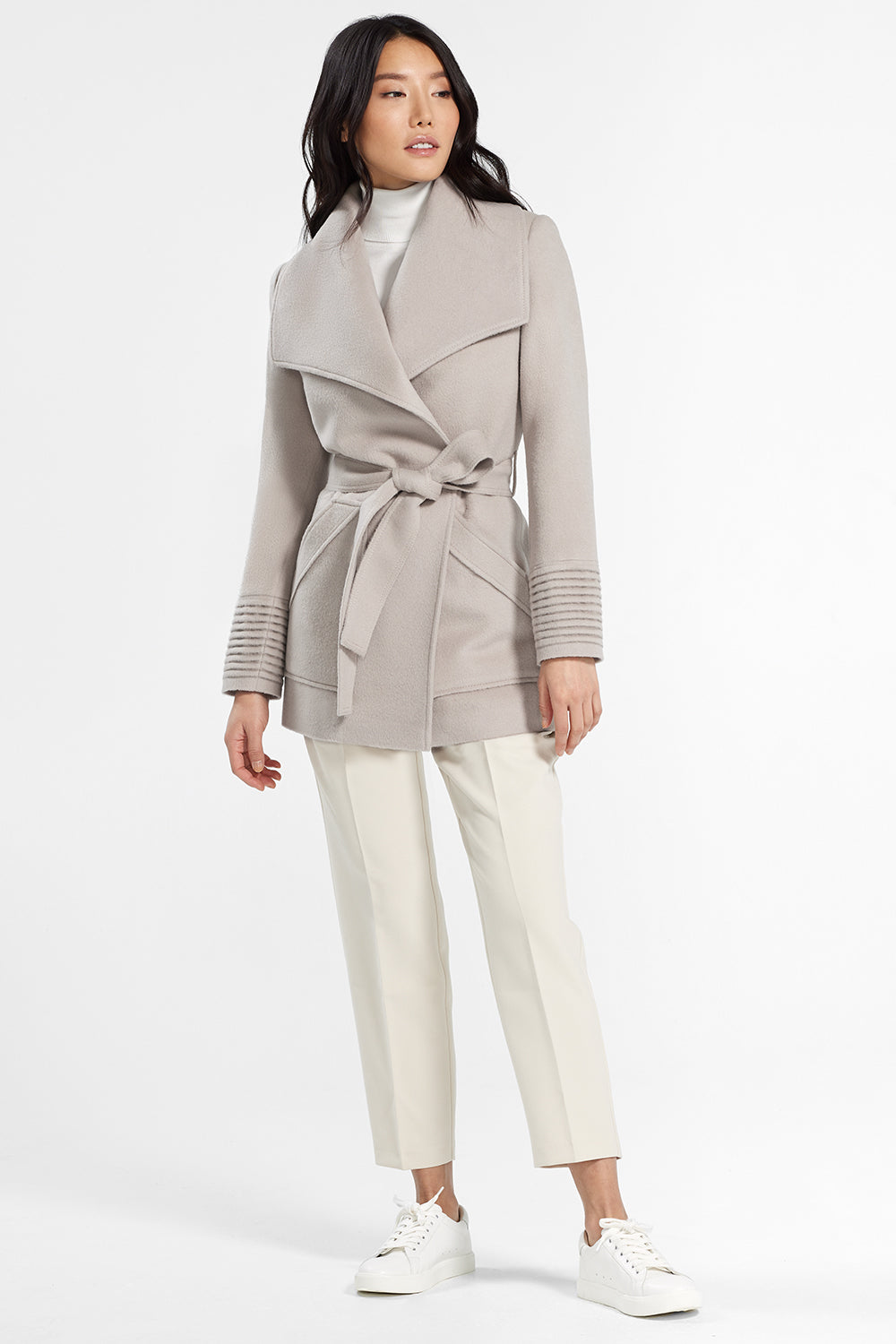Sentaler Cropped Wide Collar Wrap Coat featured in Baby Alpaca and available in Bleeker Beige. Seen from front.