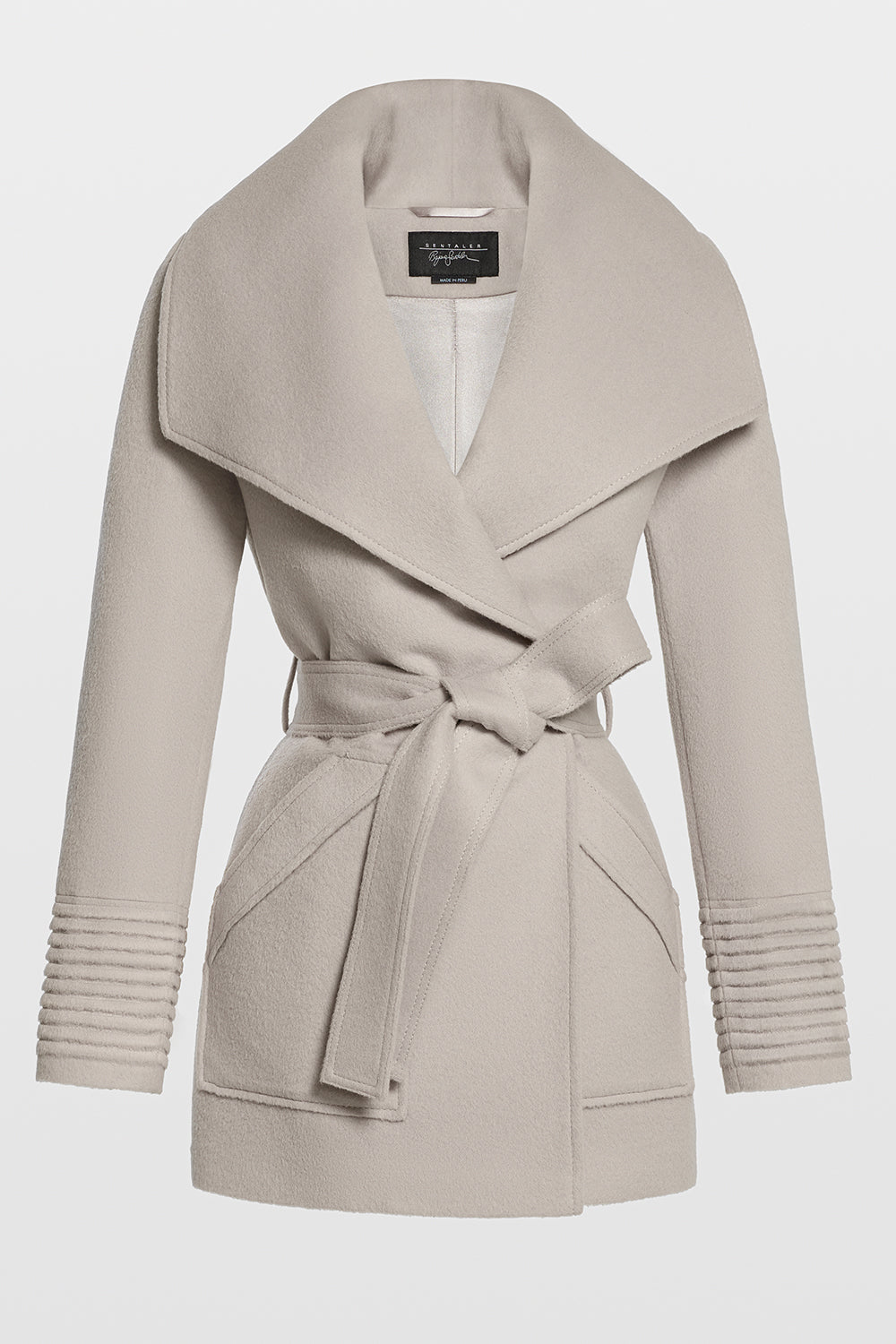 Sentaler Cropped Wide Collar Wrap Coat featured in Baby Alpaca and available in Bleeker Beige. Seen off model.