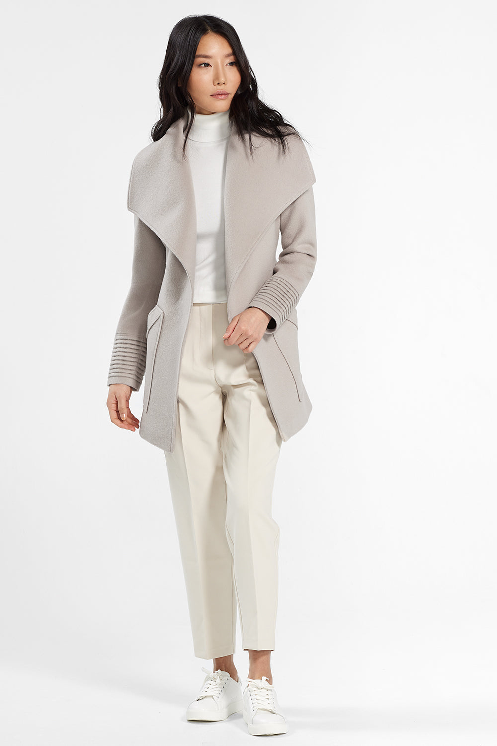 Sentaler Cropped Wide Collar Wrap Coat featured in Baby Alpaca and available in Bleeker Beige. Seen open.