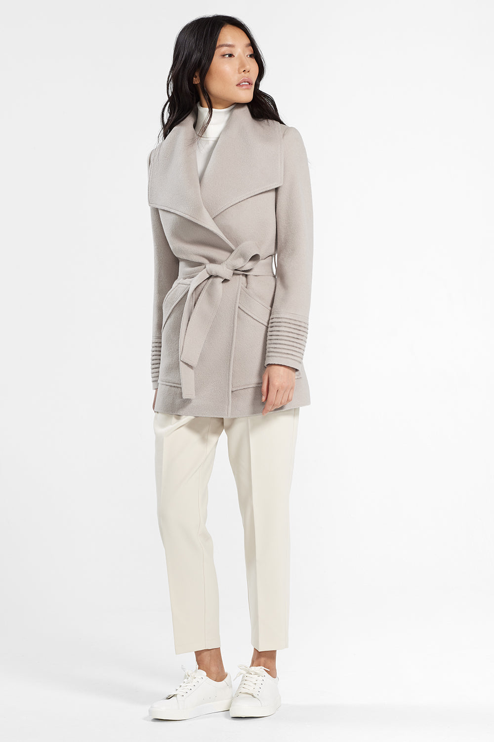 Sentaler Cropped Wide Collar Wrap Coat featured in Baby Alpaca and available in Bleeker Beige. Seen from side.