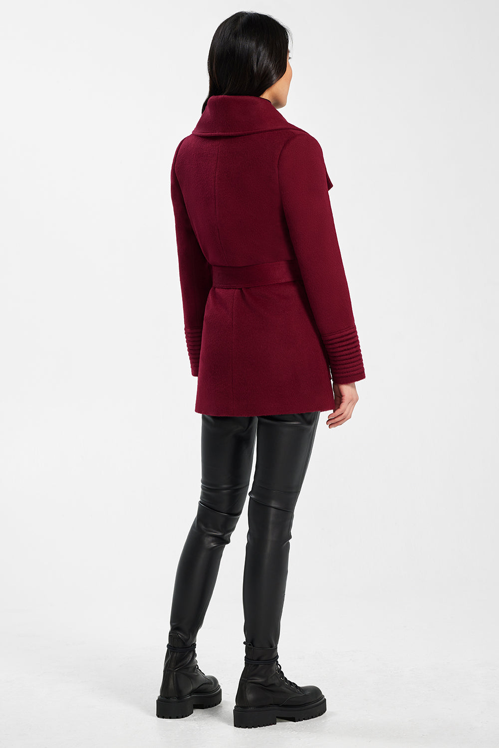 Sentaler Cropped Wide Collar Wrap Coat featured in Baby Alpaca and available in Garnet Red. Seen from back.
