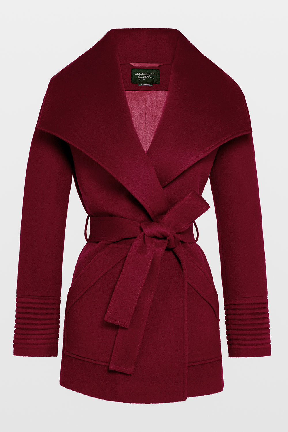 Sentaler Cropped Wide Collar Wrap Coat featured in Baby Alpaca and available in Garnet Red. Seen off model.