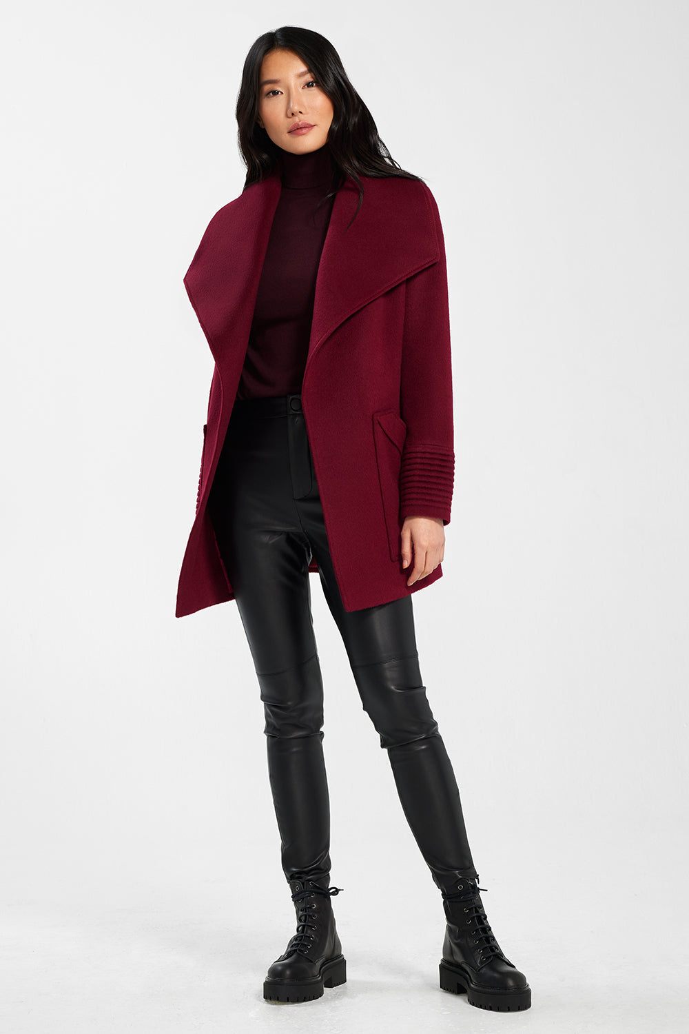 Sentaler Cropped Wide Collar Wrap Coat featured in Baby Alpaca and available in Garnet Red. Seen open.