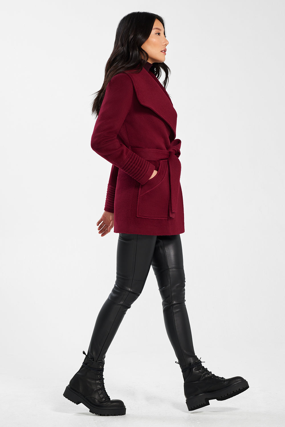 Sentaler Cropped Wide Collar Wrap Coat featured in Baby Alpaca and available in Garnet Red. Seen from side.