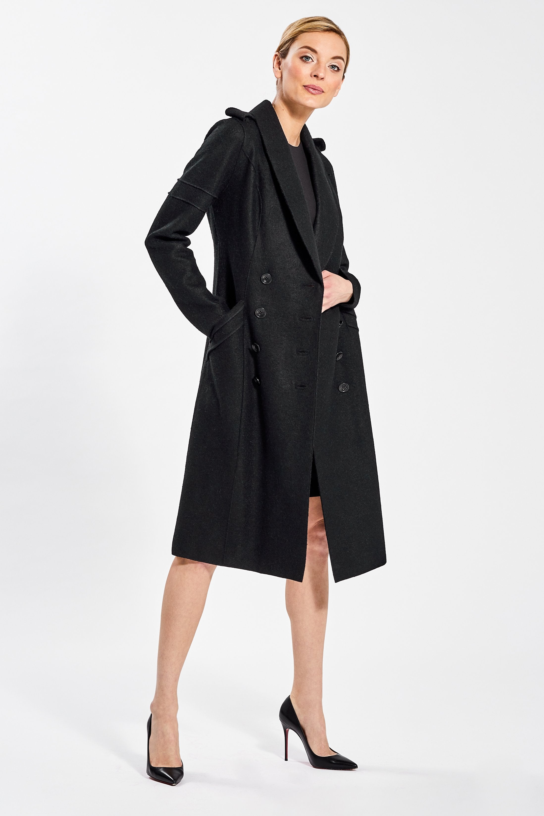 Double Breasted Fitted Coat, Black