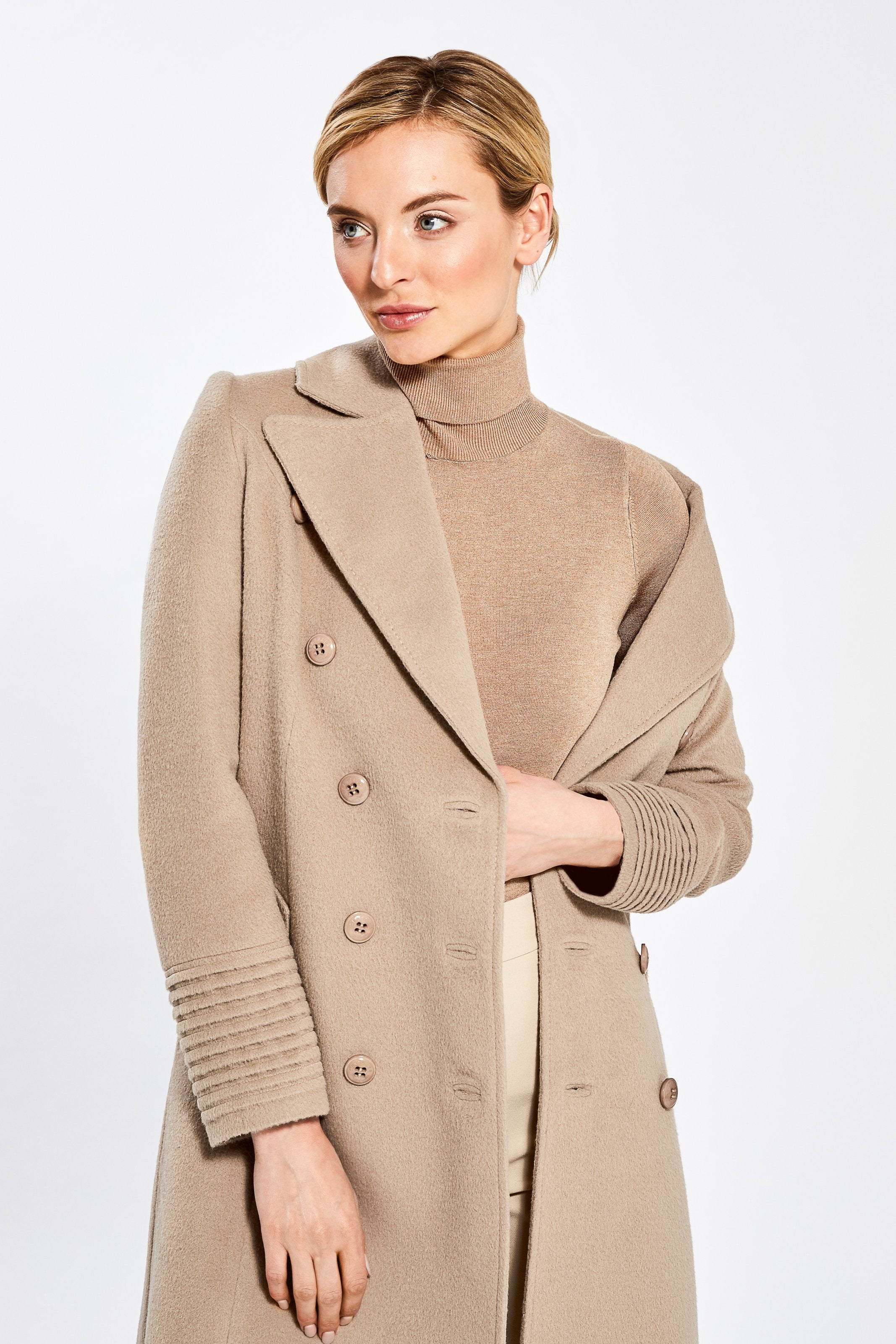 Double Breasted Notched Collar Coat, Camel