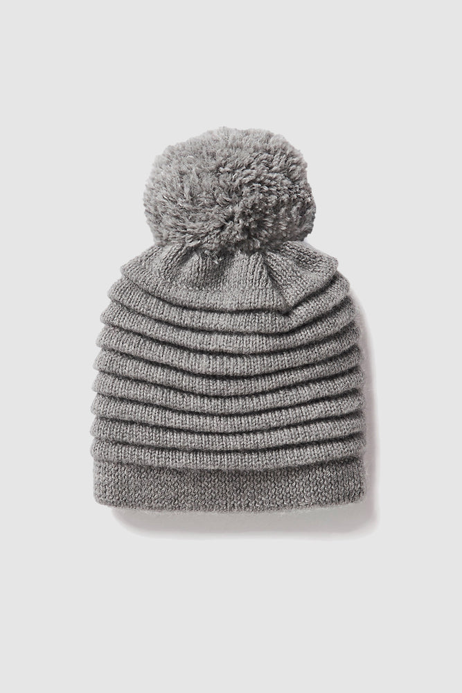 Kids Ribbed Hat with Oversized Knit Pompon, Grey