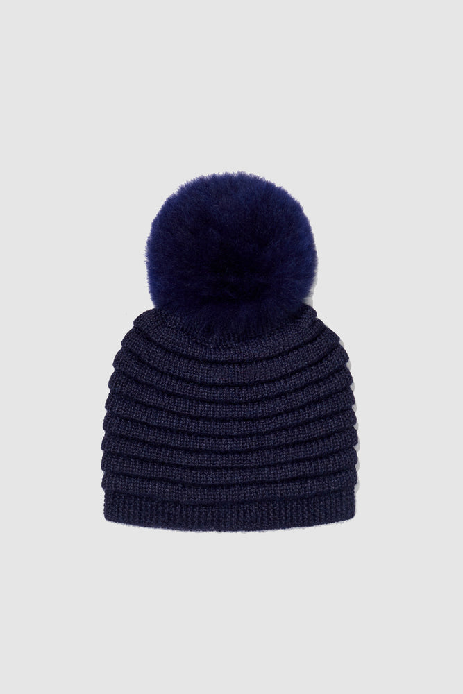 Kids Ribbed Hat with Oversized Fur Pompon, Navy