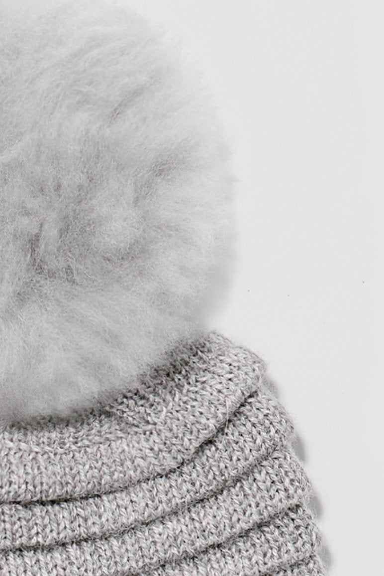 Kids Ribbed Hat with Oversized Fur Pompon, Grey