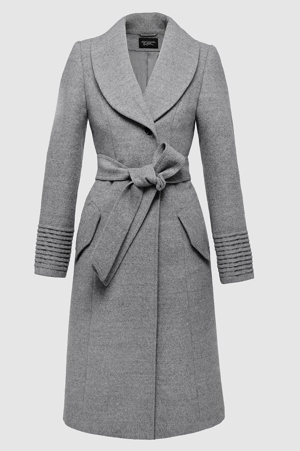 Sentaler Long Coat with Fur Collar featured in Baby Alpaca and available in Shale Grey. Seen off model.