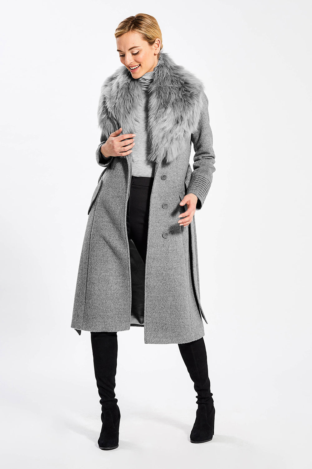 Sentaler Long Coat with Fur Collar featured in Baby Alpaca and available in Shale Grey. Seen open.