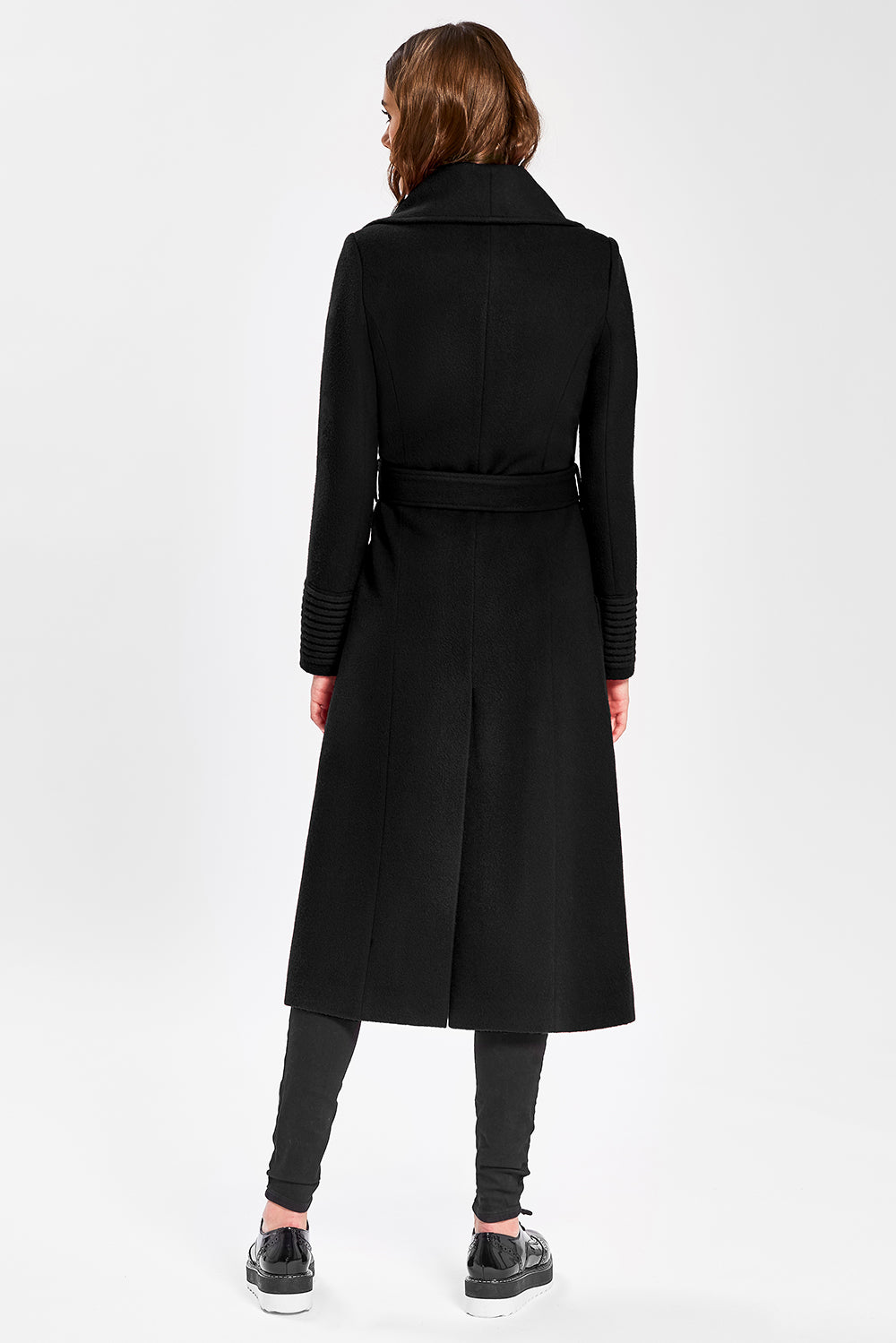 Sentaler Long Wide Collar Wrap Coat featured in Baby Alpaca and available in Black. Seen from back.