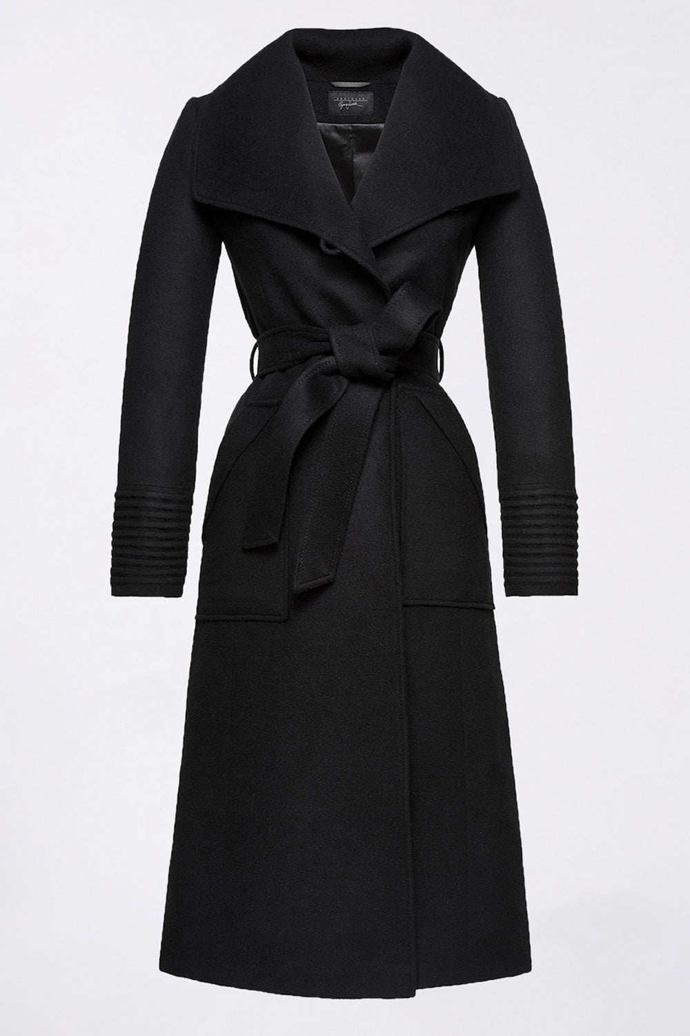 Sentaler Long Wide Collar Wrap Coat featured in Baby Alpaca and available in Black. Seen off model.