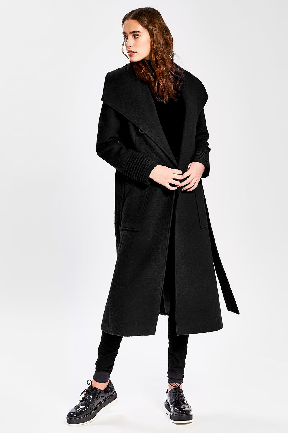 Sentaler Long Wide Collar Wrap Coat featured in Baby Alpaca and available in Black. Seen open.