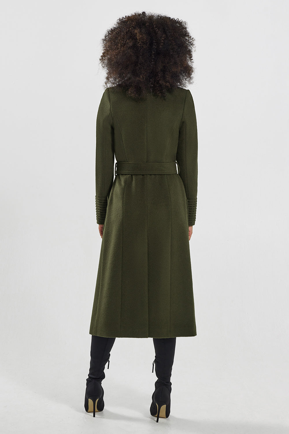 Sentaler Long Wide Collar Wrap Coat featured in Baby Alpaca and available in Olive. Seen from back.