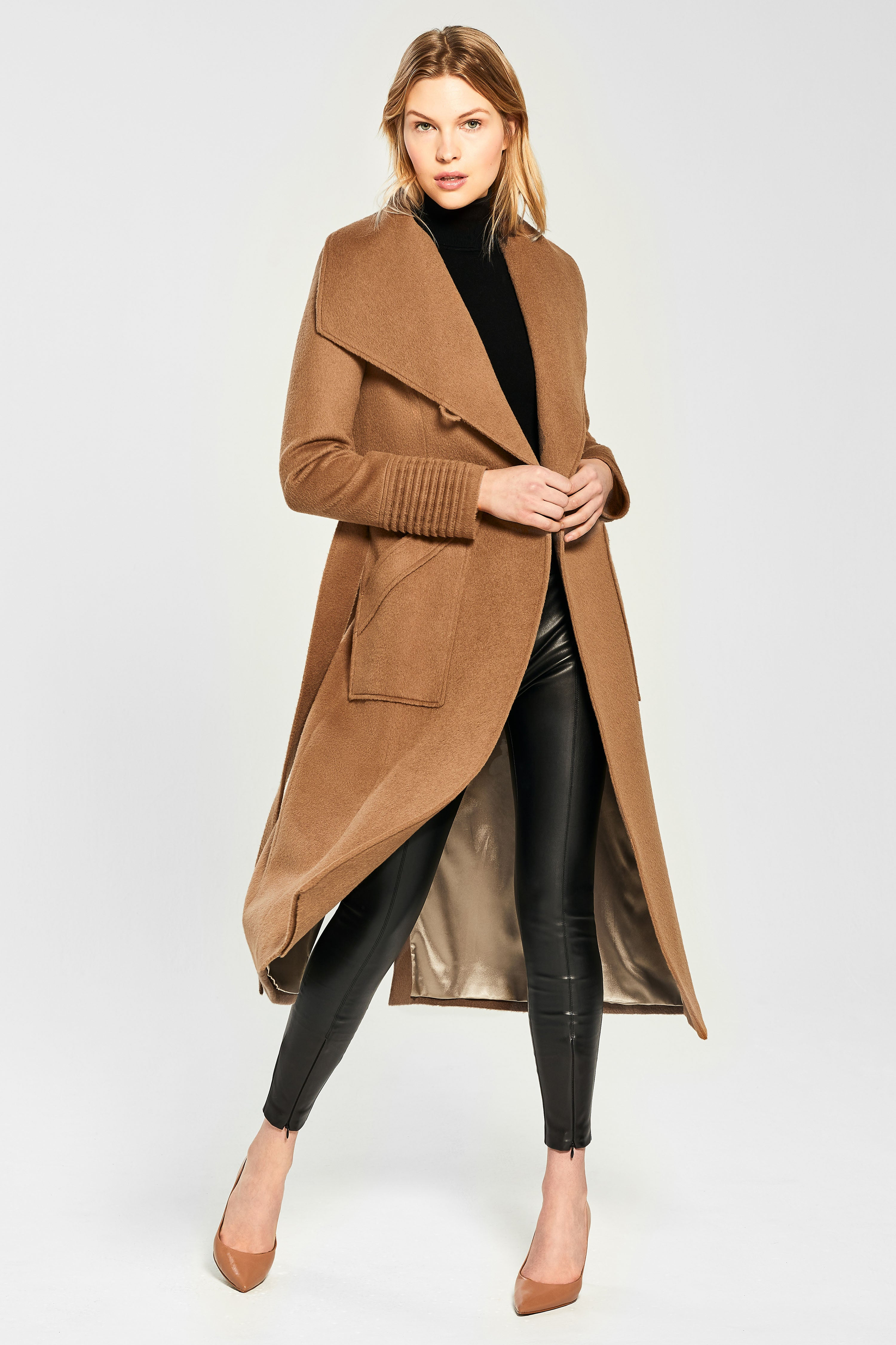Long Wide Collar Wrap Coat, Dark Camel