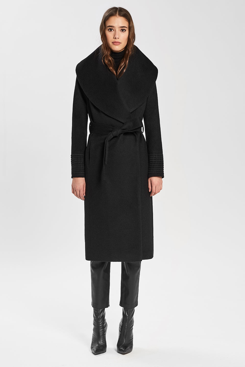 Sentaler Long Wide Shawl Collar Wrap Coat featured in Baby Alpaca and available in Black. Seen from front.