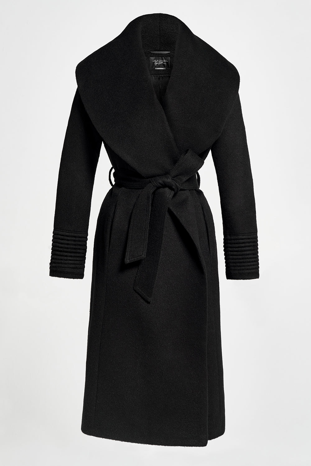 Sentaler Long Wide Shawl Collar Wrap Coat featured in Baby Alpaca and available in Black. Seen off model.