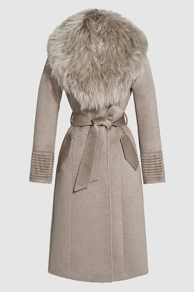 Long Coat with Fur Collar, Light Taupe