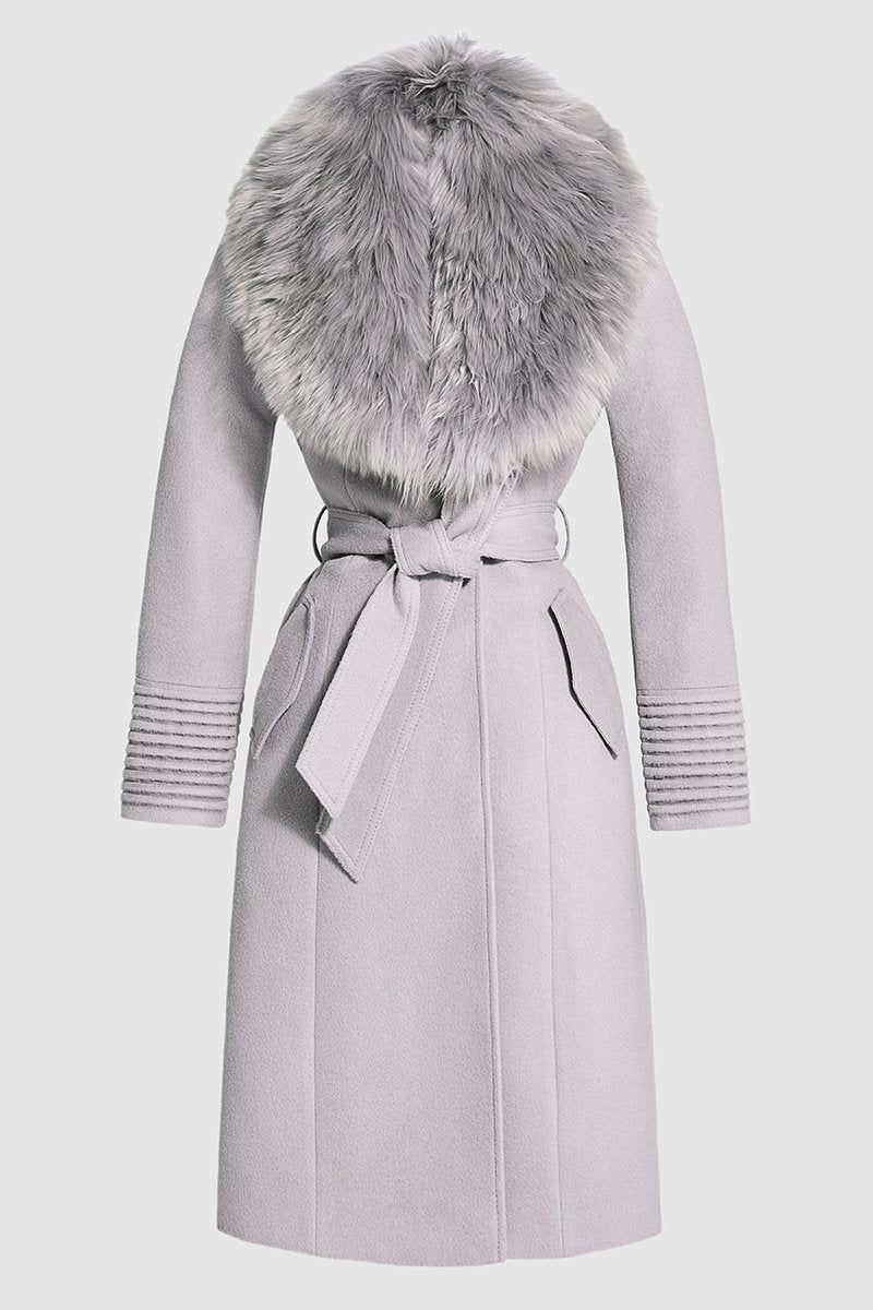 Long Coat with Fur Collar, Opal Grey