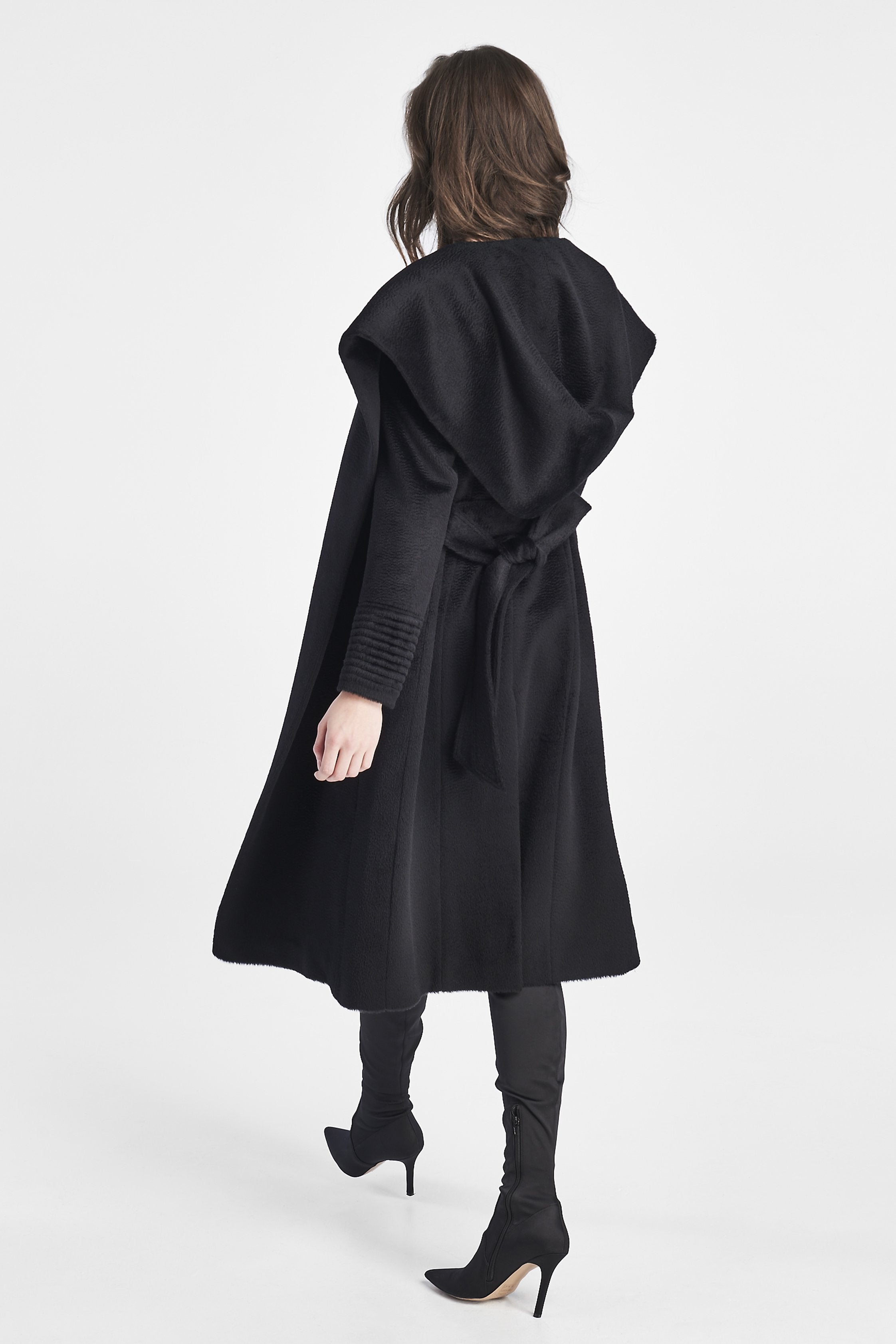 Long Hooded Wrap Coat, Black