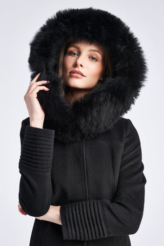 Mid Length Coat with Fur Hood, Black