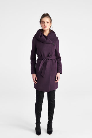 Mid Length Hooded Wrap Coat, Violet