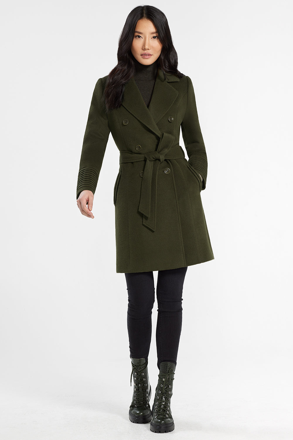 Sentaler Mid Length Double Breasted Coat featured in Baby Alpaca and available in Olive. Seen from front with belt.