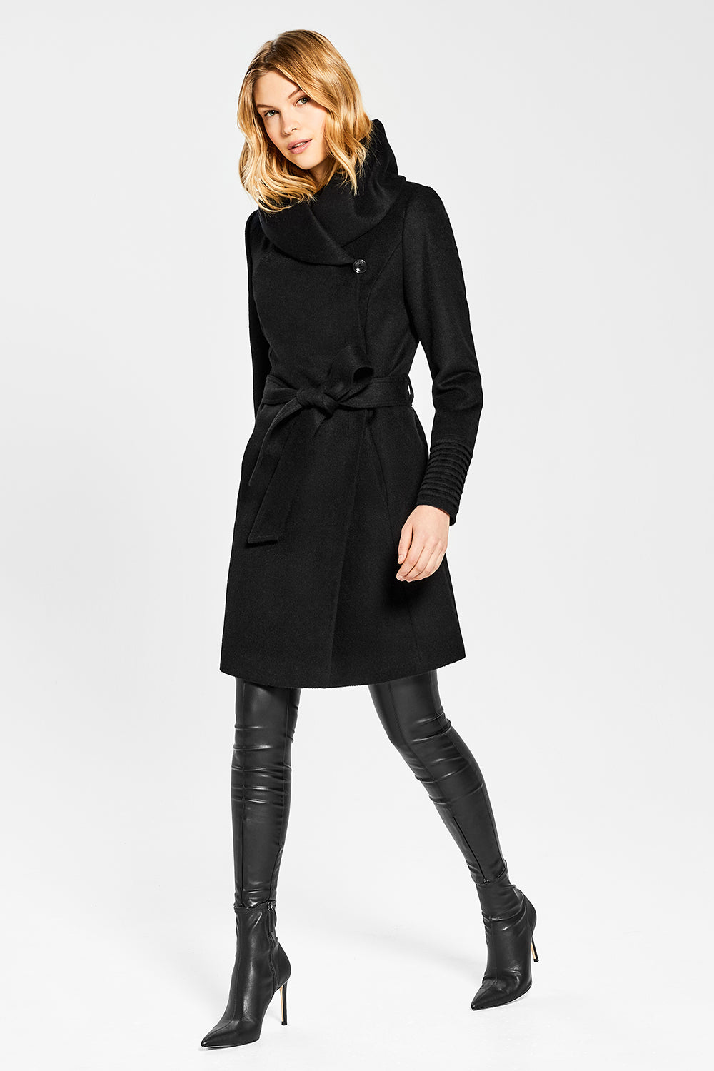Sentaler Mid Length Hooded Wrap Coat featured in Baby Alpaca and available in Black. Seen in action.