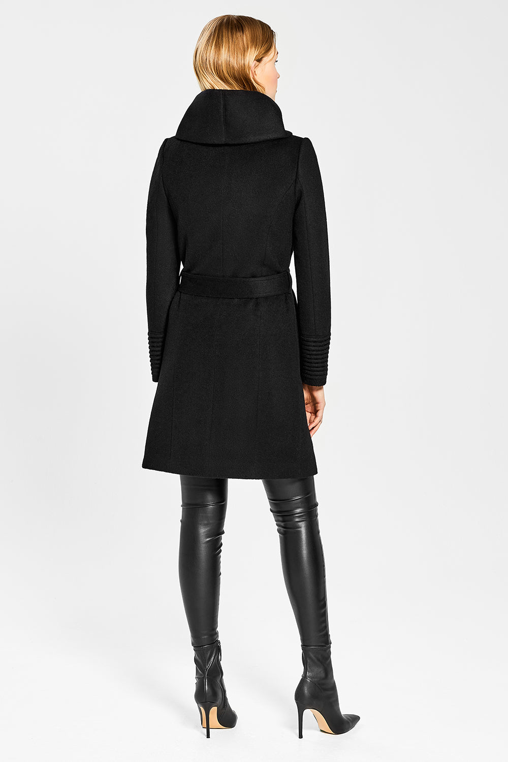 Sentaler Mid Length Hooded Wrap Coat featured in Baby Alpaca and available in Black. Seen from back.