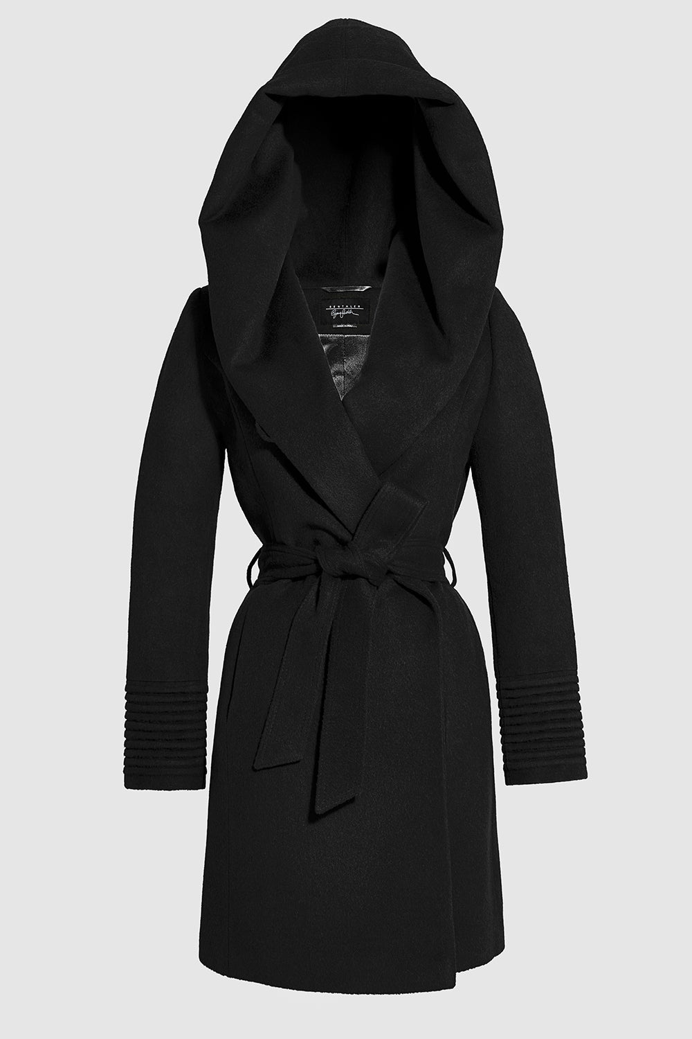 Sentaler Mid Length Hooded Wrap Coat featured in Baby Alpaca and available in Black. Seen off model.