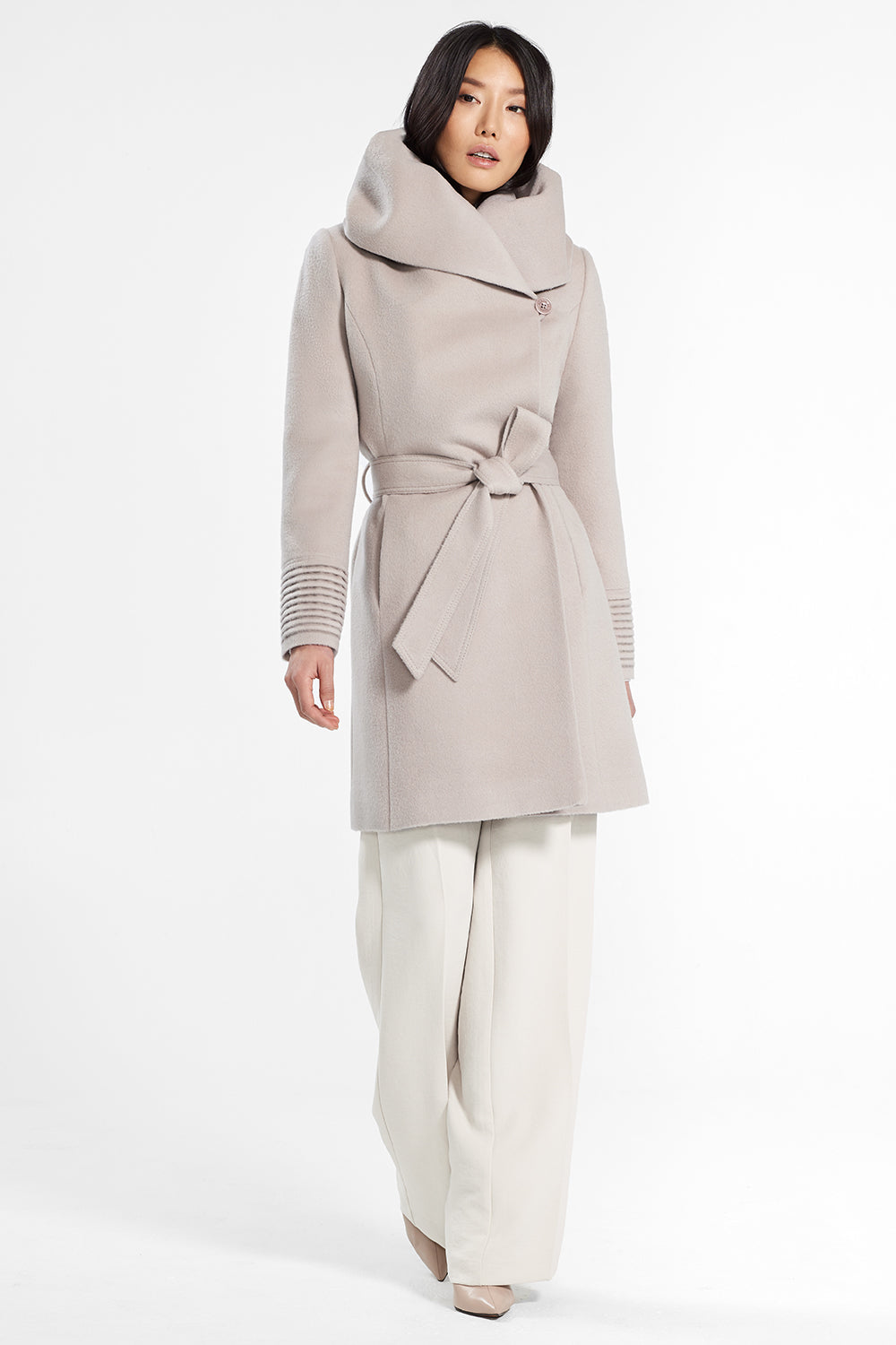 Sentaler Mid Length Hooded Wrap Coat featured in Baby Alpaca and available in Bleeker Beige. Seen from front.