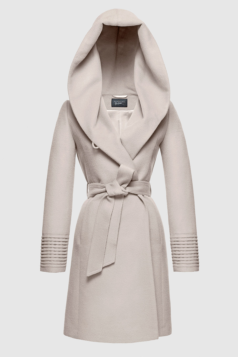 Sentaler Mid Length Hooded Wrap Coat featured in Baby Alpaca and available in Bleeker Beige. Seen off model.