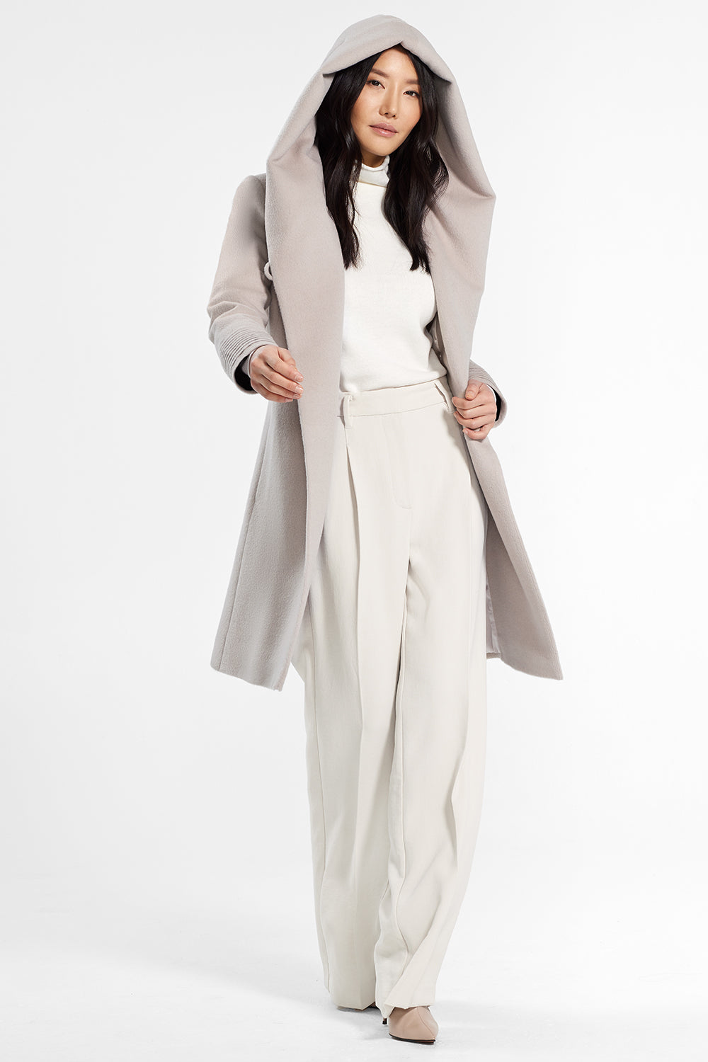 Sentaler Mid Length Hooded Wrap Coat featured in Baby Alpaca and available in Bleeker Beige. Seen open.