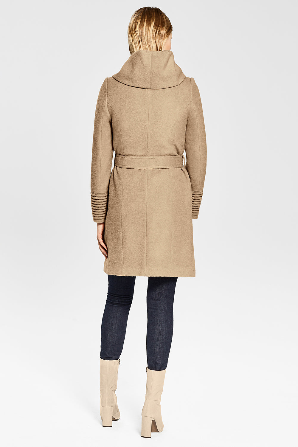 Sentaler Mid Length Hooded Wrap Coat featured in Baby Alpaca and available in Camel. Seen from back.