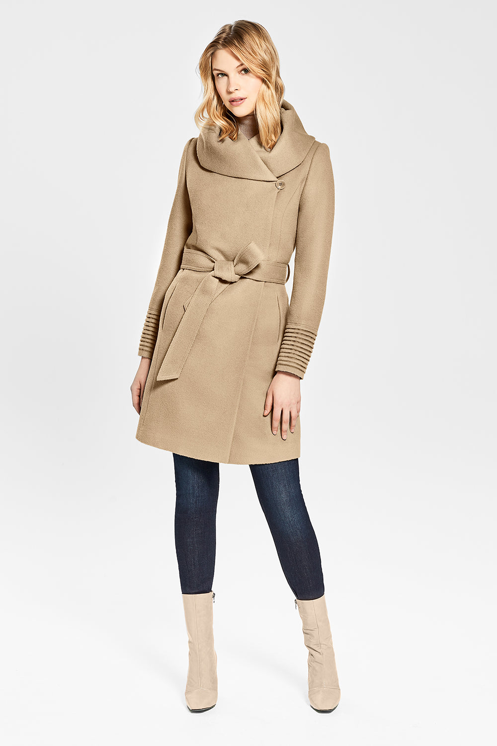 Sentaler Mid Length Hooded Wrap Coat featured in Baby Alpaca and available in Camel. Seen from front.