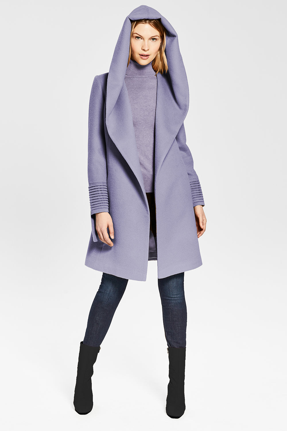 Sentaler Mid Length Hooded Wrap Coat featured in Baby Alpaca and available in Lilac. Seen open.