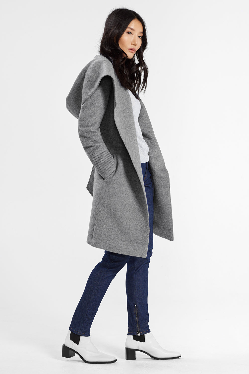Sentaler Mid Length Hooded Wrap Coat featured in Baby Alpaca and available in Shale Grey. Seen in action.